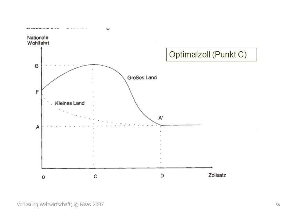 Vorlesung Weltwirtschaft; © Blaas 2007 56 Optimalzoll (Punkt C)