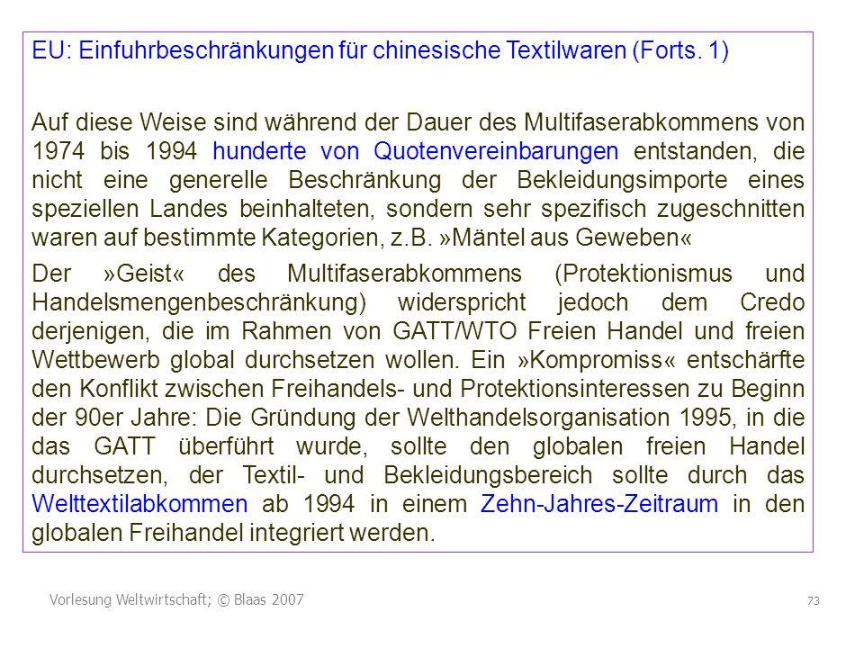 Vorlesung Weltwirtschaft; © Blaas 2007 73 EU: Einfuhrbeschränkungen für chinesische Textilwaren (Forts.