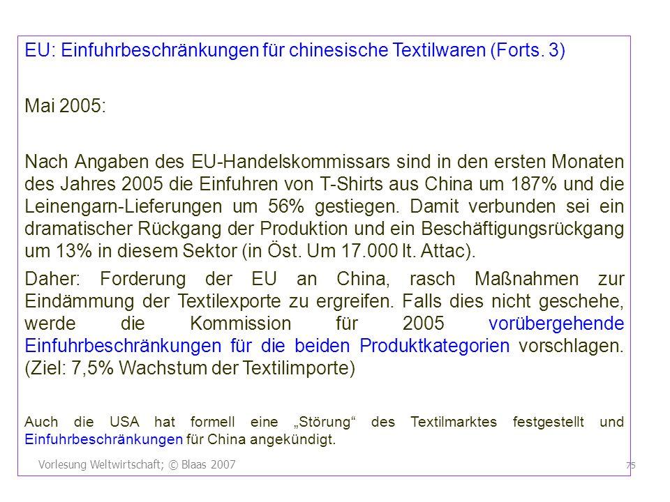 Vorlesung Weltwirtschaft; © Blaas 2007 75 EU: Einfuhrbeschränkungen für chinesische Textilwaren (Forts. 3) Mai 2005: Nach Angaben des EU-Handelskommis