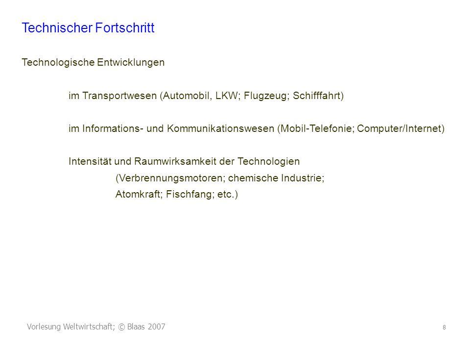 Vorlesung Weltwirtschaft; © Blaas 2007 8 Technischer Fortschritt Technologische Entwicklungen im Transportwesen (Automobil, LKW; Flugzeug; Schifffahrt