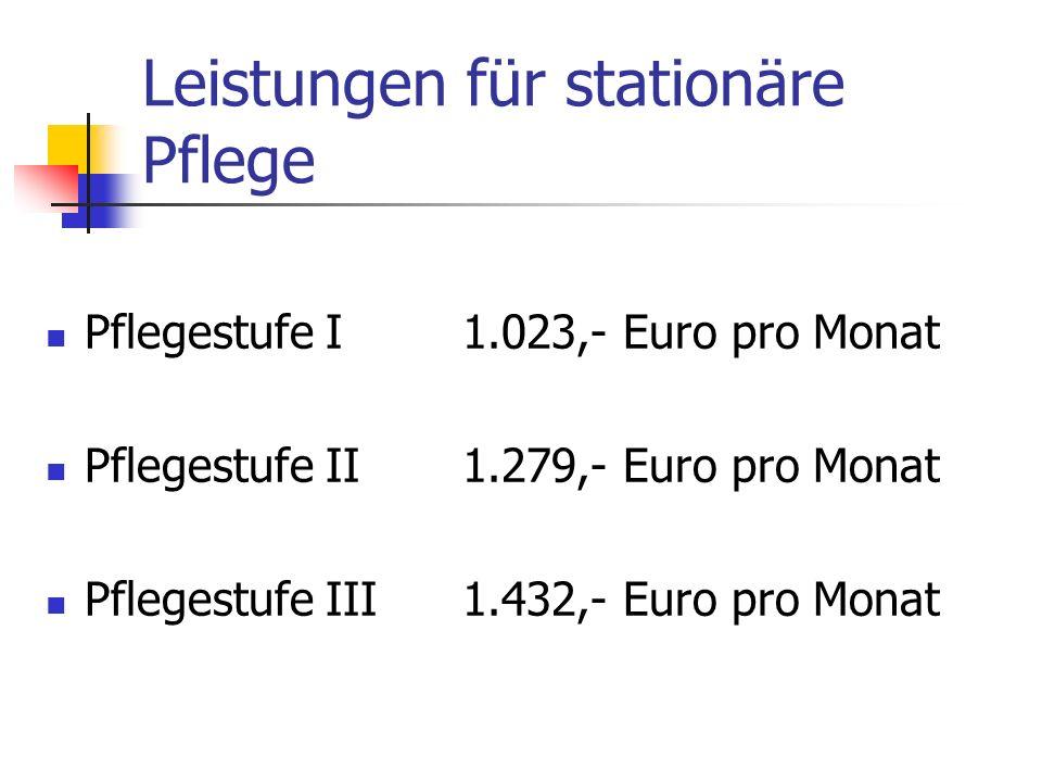 Leistungen für stationäre Pflege Pflegestufe I1.023,- Euro pro Monat Pflegestufe II1.279,- Euro pro Monat Pflegestufe III1.432,- Euro pro Monat