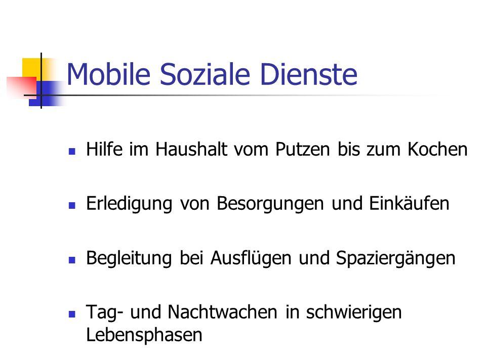 Mobile Soziale Dienste Hilfe im Haushalt vom Putzen bis zum Kochen Erledigung von Besorgungen und Einkäufen Begleitung bei Ausflügen und Spaziergängen