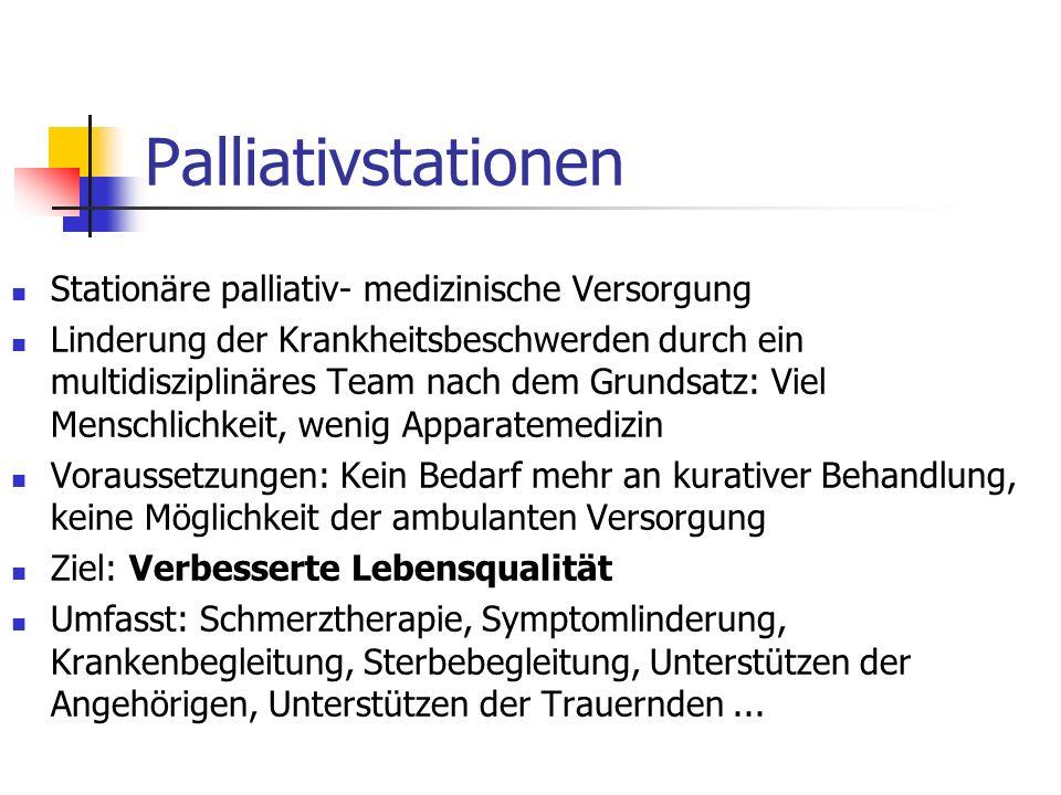 Palliativstationen Stationäre palliativ- medizinische Versorgung Linderung der Krankheitsbeschwerden durch ein multidisziplinäres Team nach dem Grunds