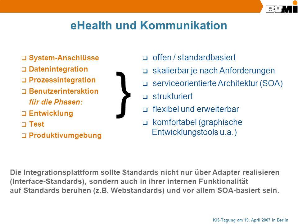 KIS-Tagung am 19. April 2007 in Berlin eHealth und Kommunikation System-Anschlüsse Datenintegration Prozessintegration Benutzerinteraktion für die Pha