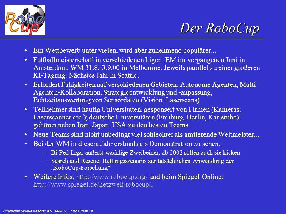 Praktikum Mobile Roboter WS 2000/01, Folie 10 von 26 Ein Wettbewerb unter vielen, wird aber zunehmend populärer... Fußballmeisterschaft in verschieden
