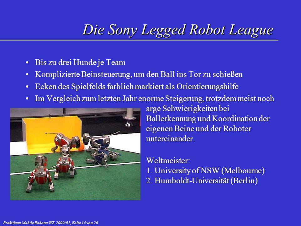 Praktikum Mobile Roboter WS 2000/01, Folie 14 von 26 Bis zu drei Hunde je Team Komplizierte Beinsteuerung, um den Ball ins Tor zu schießen Ecken des S