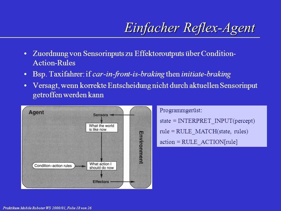 Praktikum Mobile Roboter WS 2000/01, Folie 18 von 26 Einfacher Reflex-Agent Zuordnung von Sensorinputs zu Effektoroutputs über Condition- Action-Rules