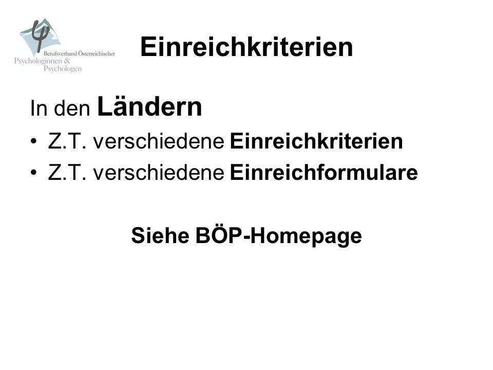 Einreichkriterien In den Ländern Z.T. verschiedene Einreichkriterien Z.T. verschiedene Einreichformulare Siehe BÖP-Homepage
