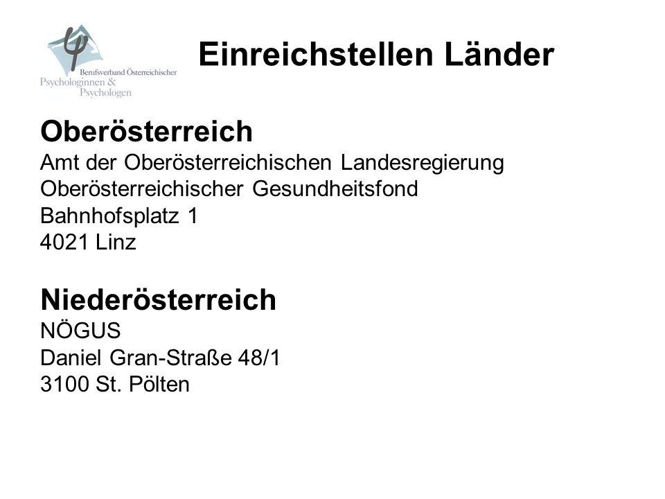 Oberösterreich Amt der Oberösterreichischen Landesregierung Oberösterreichischer Gesundheitsfond Bahnhofsplatz 1 4021 Linz Niederösterreich NÖGUS Dani