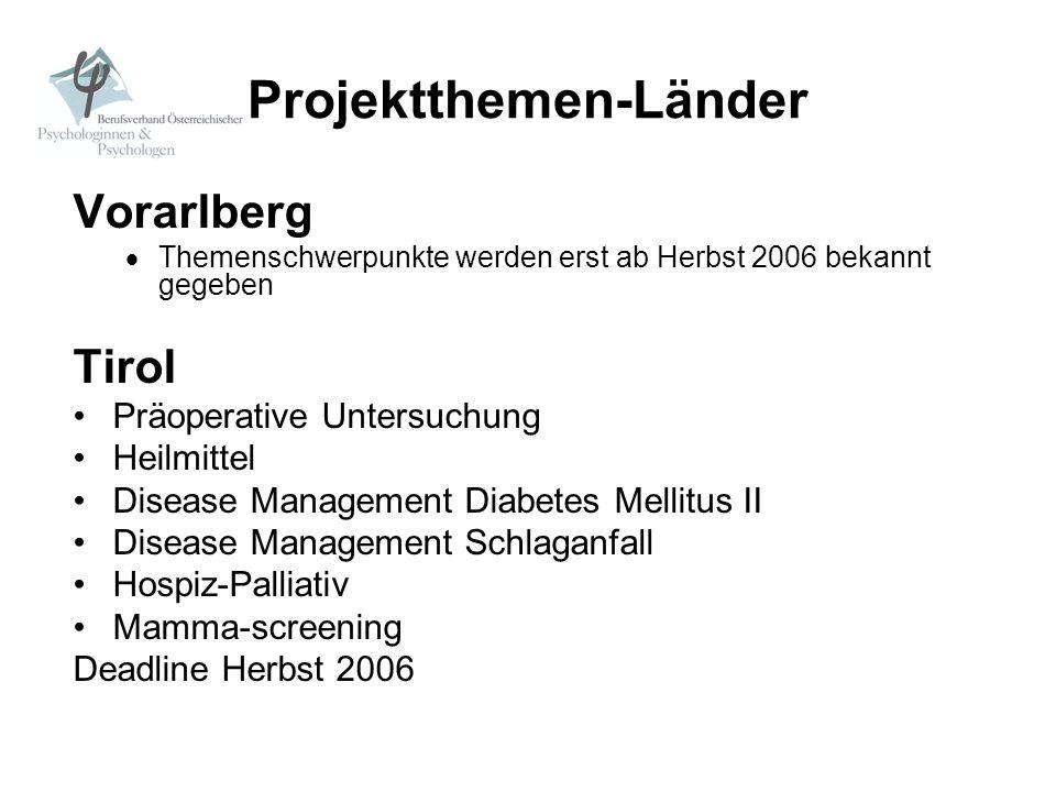Projektthemen-Länder Vorarlberg Themenschwerpunkte werden erst ab Herbst 2006 bekannt gegeben Tirol Präoperative Untersuchung Heilmittel Disease Manag