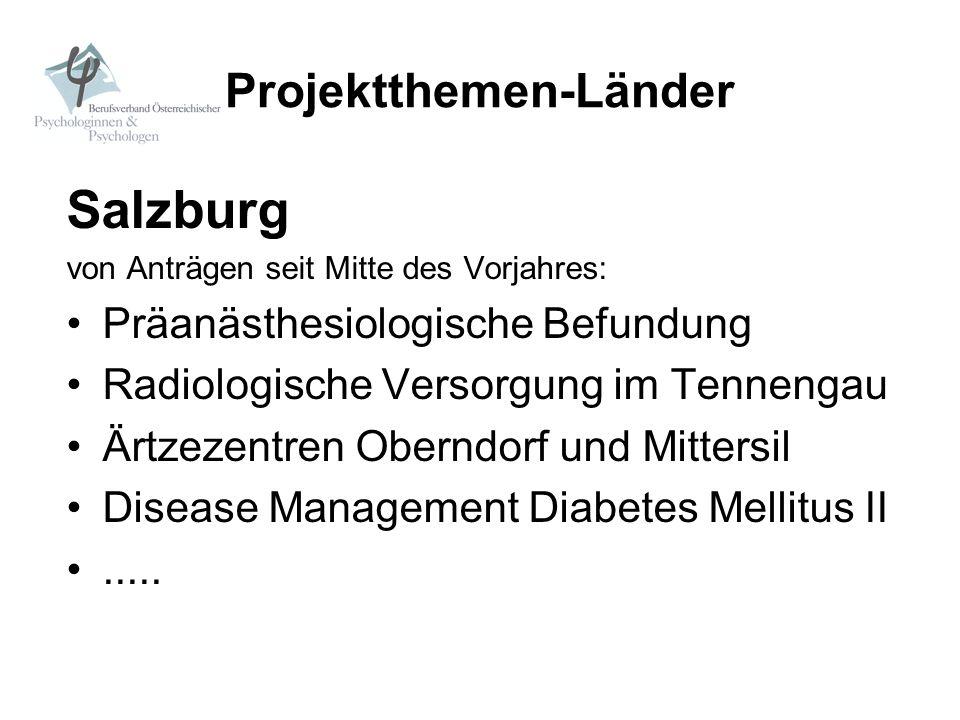 Projektthemen-Länder Salzburg von Anträgen seit Mitte des Vorjahres: Präanästhesiologische Befundung Radiologische Versorgung im Tennengau Ärtzezentre