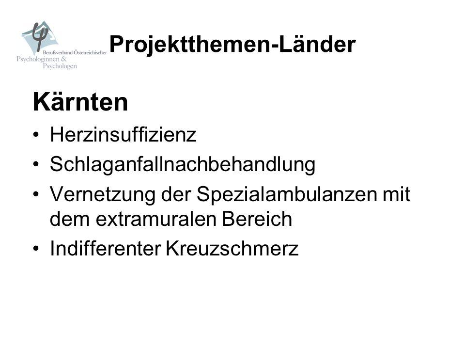Projektthemen-Länder Kärnten Herzinsuffizienz Schlaganfallnachbehandlung Vernetzung der Spezialambulanzen mit dem extramuralen Bereich Indifferenter K