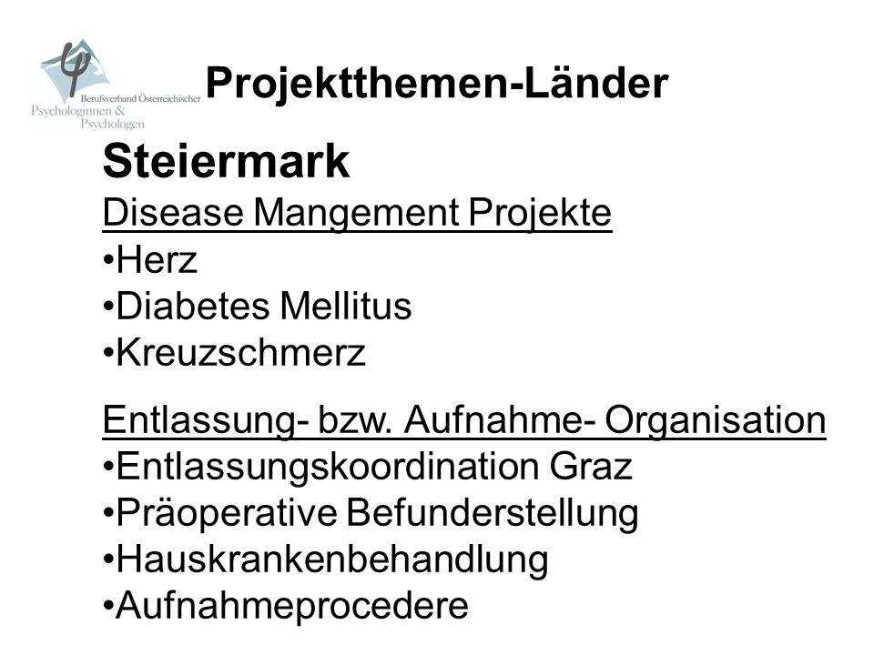 Projektthemen-Länder Steiermark Disease Mangement Projekte Herz Diabetes Mellitus Kreuzschmerz Entlassung- bzw. Aufnahme- Organisation Entlassungskoor