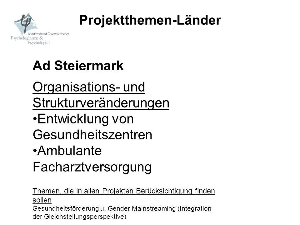Projektthemen-Länder Ad Steiermark Organisations- und Strukturveränderungen Entwicklung von Gesundheitszentren Ambulante Facharztversorgung Themen, di