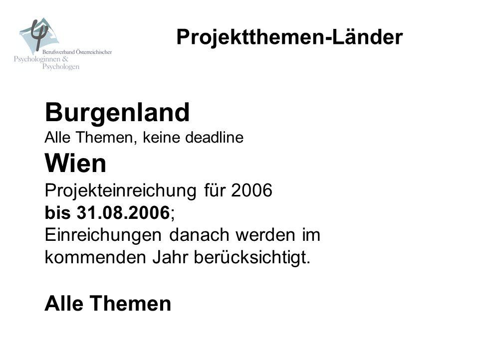 Projektthemen-Länder Burgenland Alle Themen, keine deadline Wien Projekteinreichung für 2006 bis 31.08.2006; Einreichungen danach werden im kommenden
