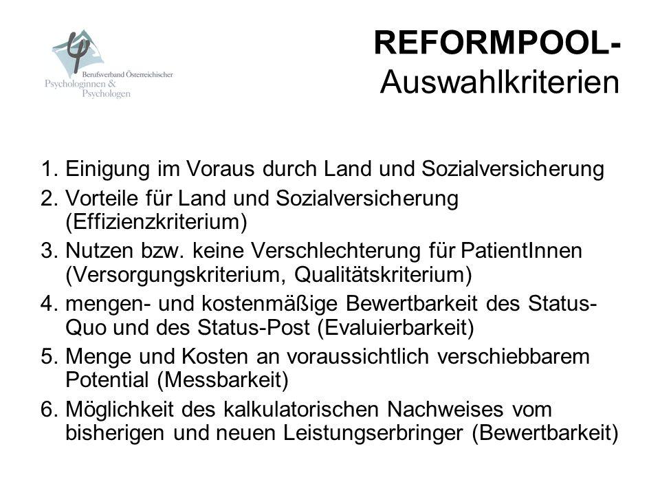 REFORMPOOL- Auswahlkriterien 1.Einigung im Voraus durch Land und Sozialversicherung 2.Vorteile für Land und Sozialversicherung (Effizienzkriterium) 3.