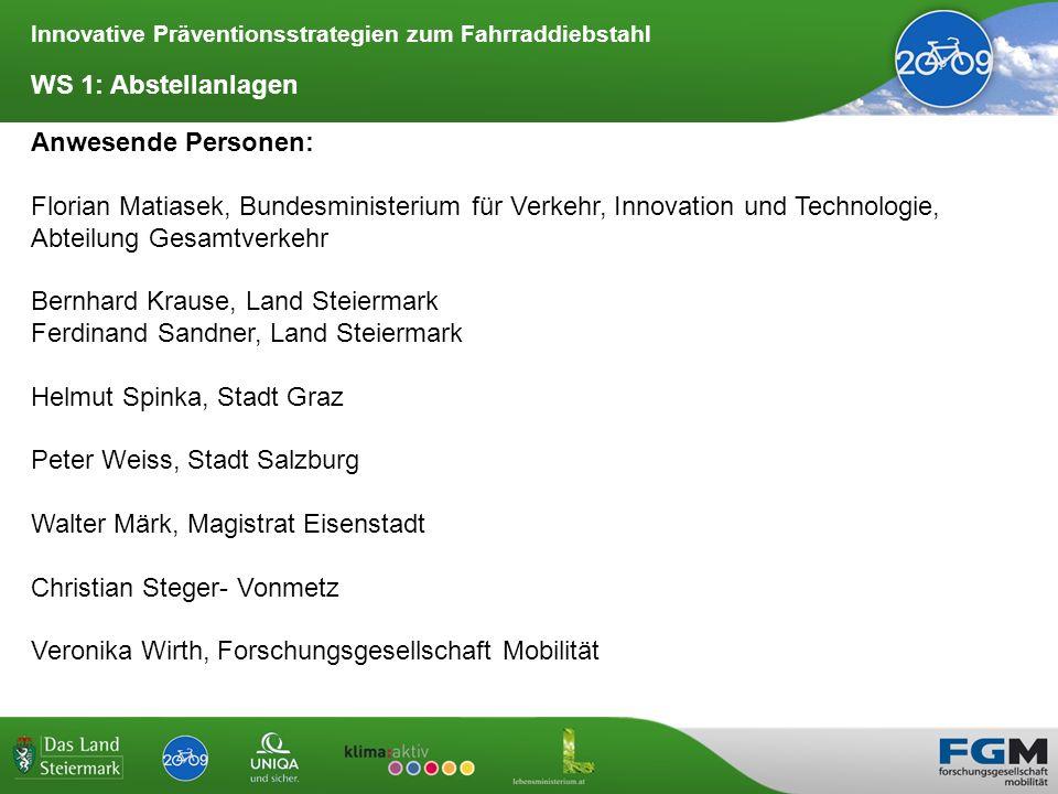 Innovative Präventionsstrategien zum Fahrraddiebstahl Zusammenfassung der Ergebnisse: Abstellanlagen 1.
