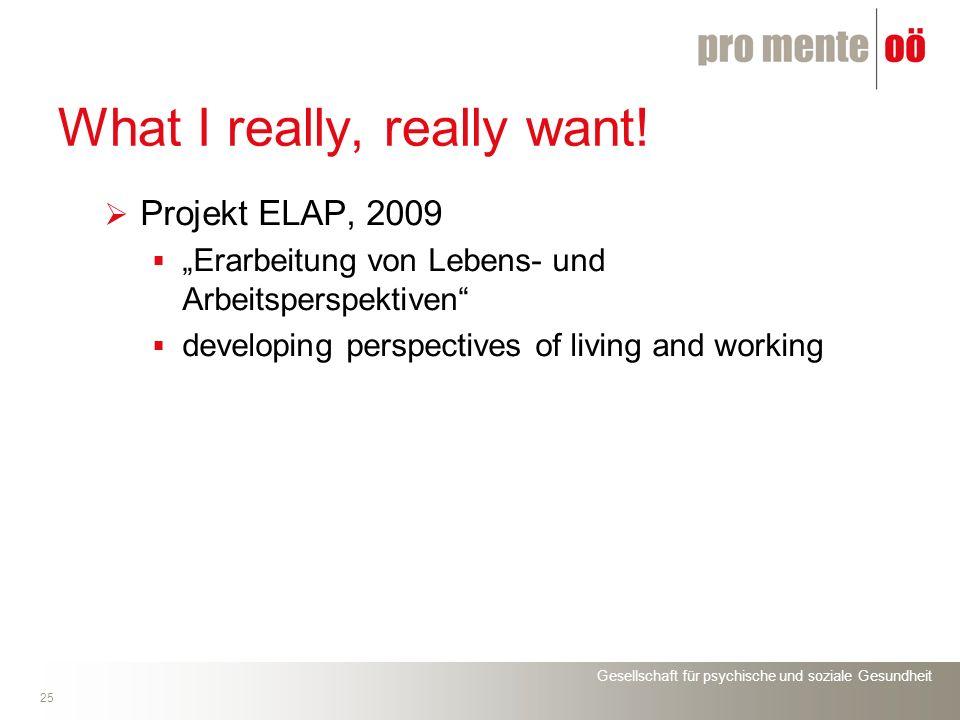 Gesellschaft für psychische und soziale Gesundheit 25 What I really, really want! Projekt ELAP, 2009 Erarbeitung von Lebens- und Arbeitsperspektiven d