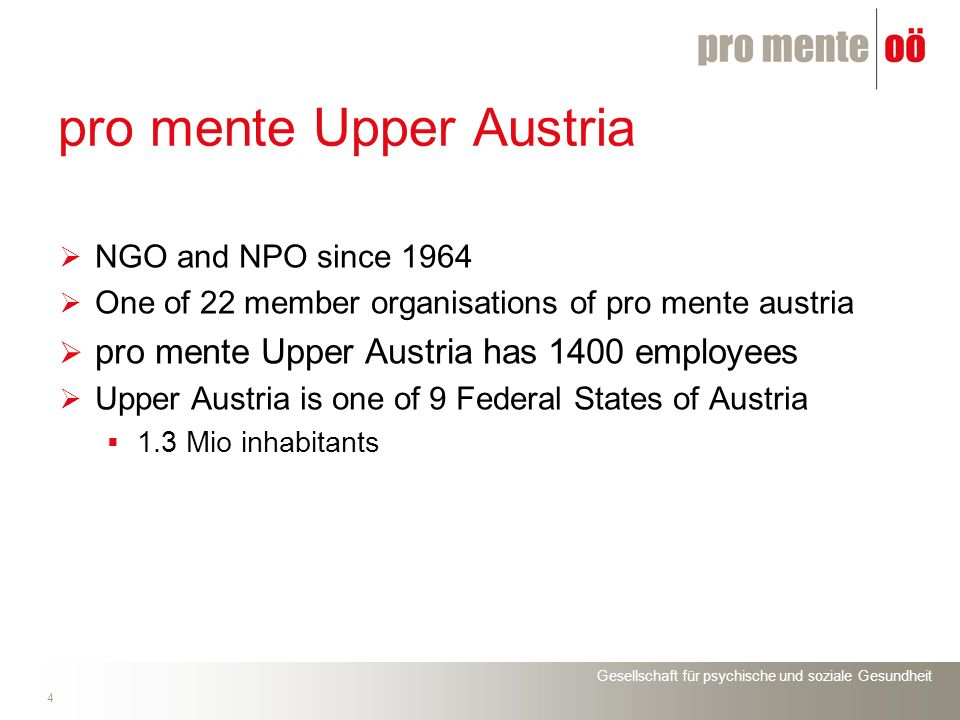 Gesellschaft für psychische und soziale Gesundheit 4 pro mente Upper Austria NGO and NPO since 1964 One of 22 member organisations of pro mente austria pro mente Upper Austria has 1400 employees Upper Austria is one of 9 Federal States of Austria 1.3 Mio inhabitants
