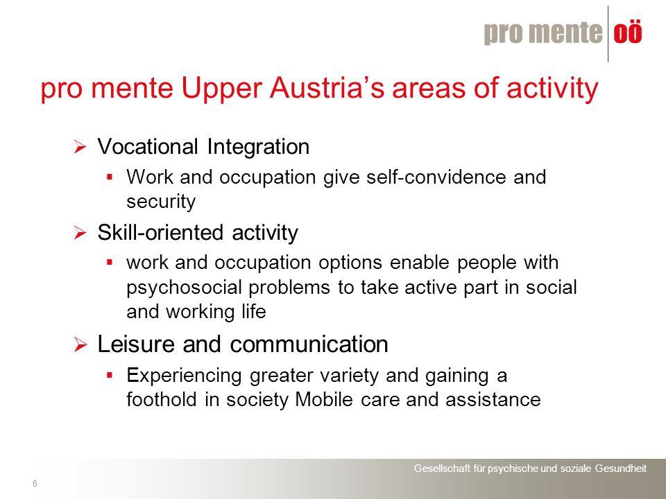Gesellschaft für psychische und soziale Gesundheit 6 pro mente Upper Austrias areas of activity Vocational Integration Work and occupation give self-c