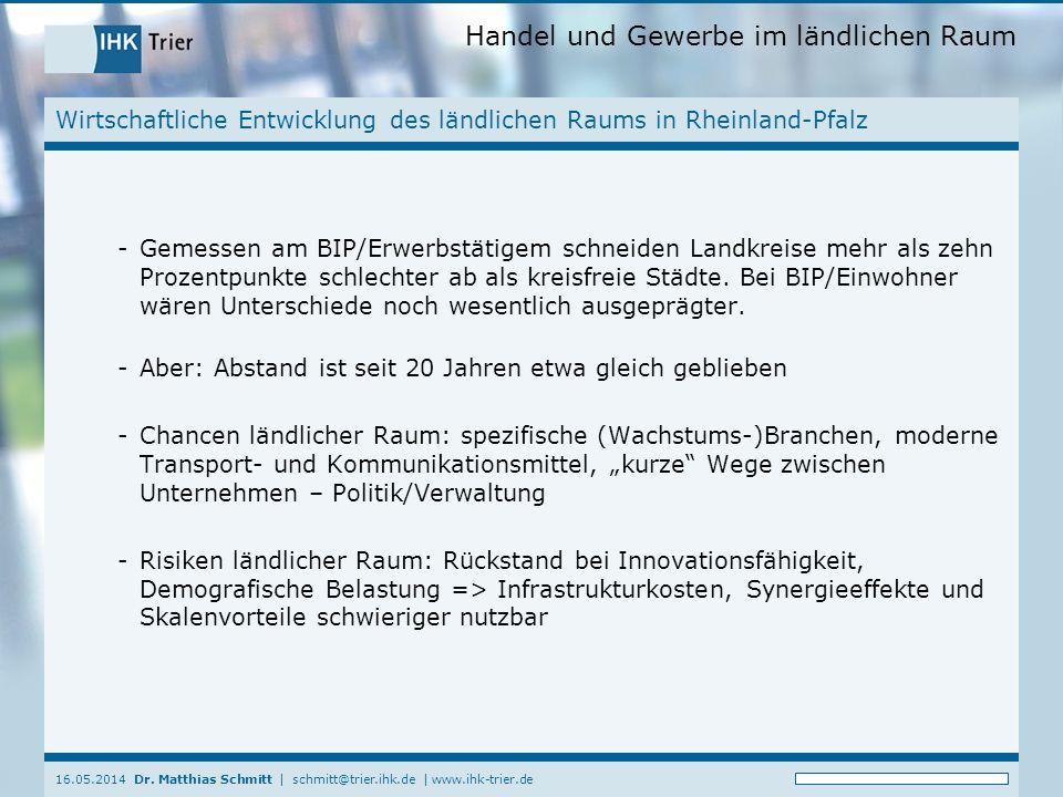 Handel und Gewerbe im ländlichen Raum 16.05.2014 Dr.