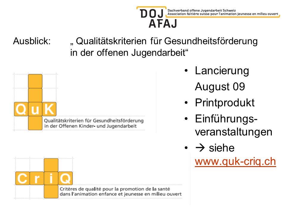 Ausblick: Qualitätskriterien für Gesundheitsförderung in der offenen Jugendarbeit Lancierung August 09 Printprodukt Einführungs- veranstaltungen siehe