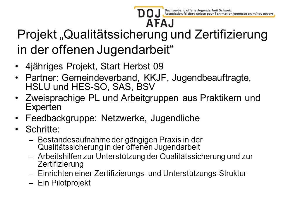 Projekt Qualitätssicherung und Zertifizierung in der offenen Jugendarbeit 4jähriges Projekt, Start Herbst 09 Partner: Gemeindeverband, KKJF, Jugendbea