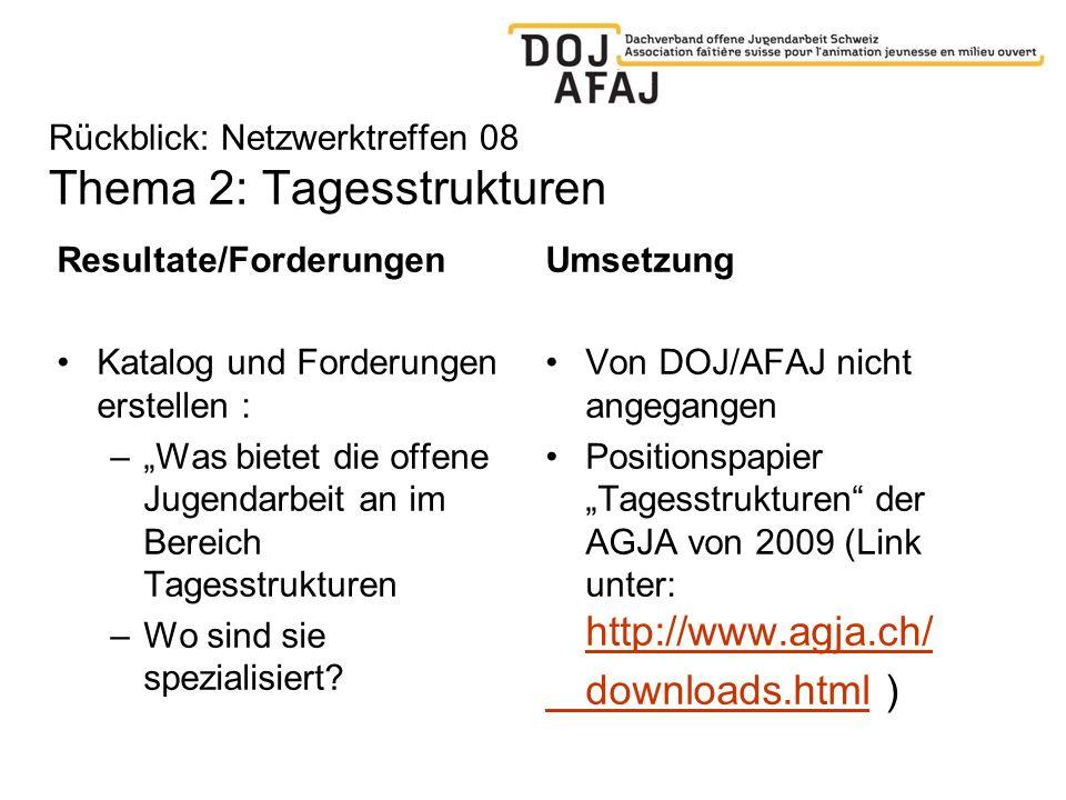 Rückblick: Netzwerktreffen 08 Thema 2: Tagesstrukturen Resultate/Forderungen Katalog und Forderungen erstellen : –Was bietet die offene Jugendarbeit a