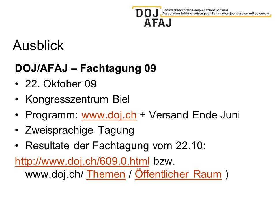 Ausblick DOJ/AFAJ – Fachtagung 09 22. Oktober 09 Kongresszentrum Biel Programm: www.doj.ch + Versand Ende Juniwww.doj.ch Zweisprachige Tagung Resultat