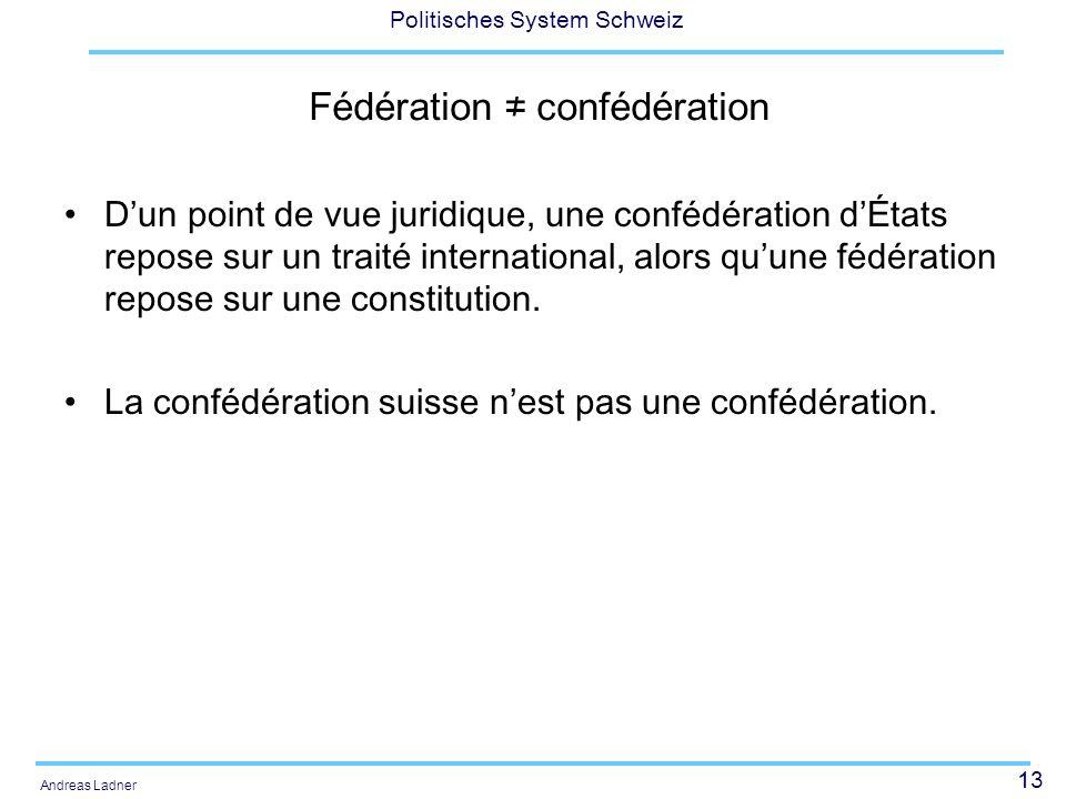 13 Politisches System Schweiz Andreas Ladner Fédération confédération Dun point de vue juridique, une confédération dÉtats repose sur un traité intern