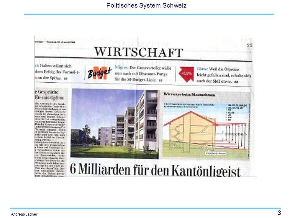 74 Politisches System Schweiz Andreas Ladner Entwicklung der Bundesaufgaben Die Verfassung von 1848 gestand dem Bund nur minimale Kompetenzen im Bereich des Geld-, Zoll- und Postwesens zu.