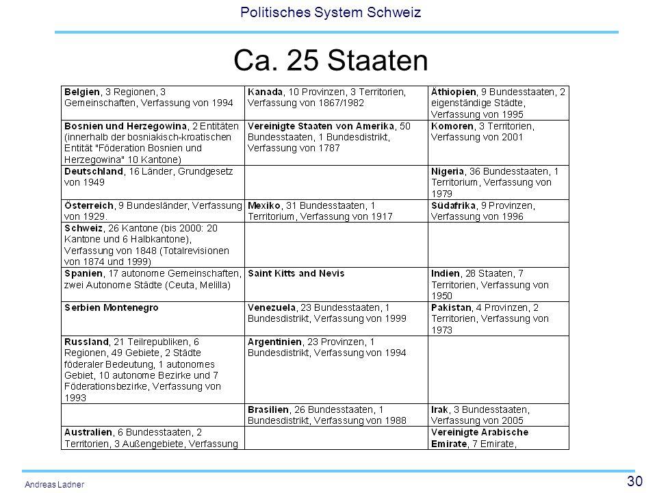 30 Politisches System Schweiz Andreas Ladner Ca. 25 Staaten