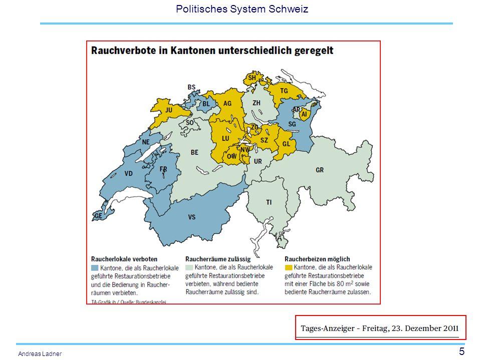 76 Politisches System Schweiz Andreas Ladner Verkehrswesen –Bundesbahnen (1891) –Schifffahrt (1919) –Automobilverkehr (1921) –Nationalstrassenbau (1958) –Bau der Alpentransversale (1992) Energiepolitik –Wasserkraft (1914) –Rohrleitungen (1961) –Atomkraft (1958) –Energiepolitik (1990)