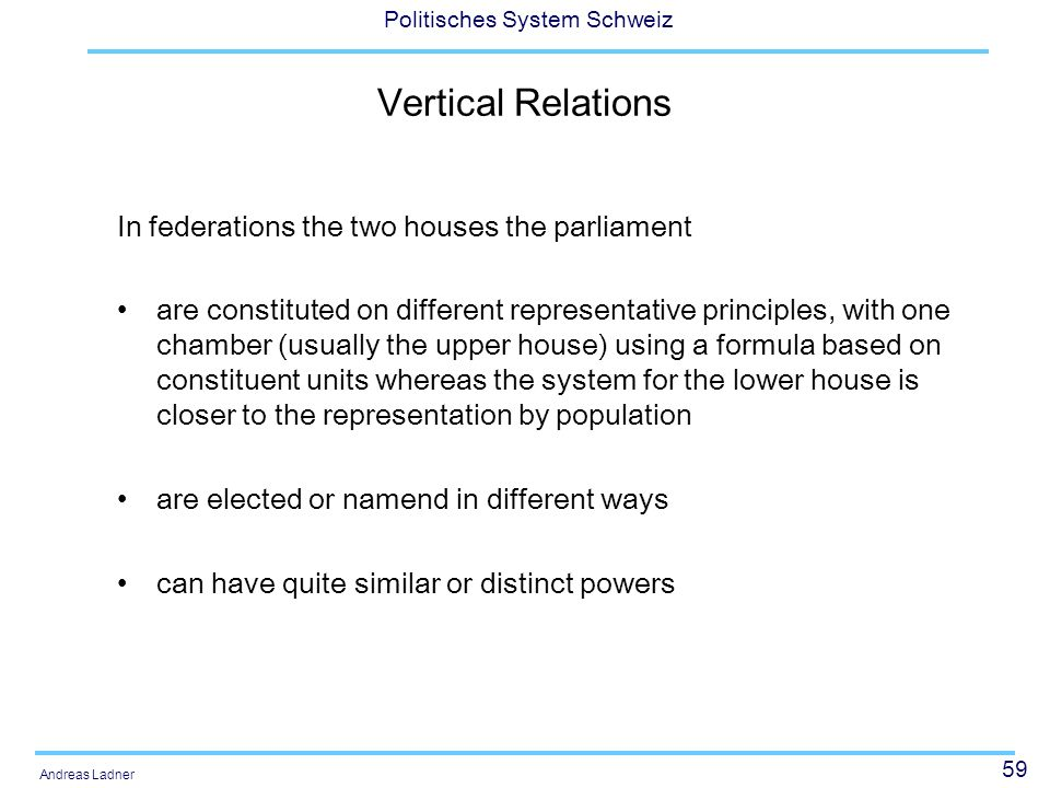 59 Politisches System Schweiz Andreas Ladner Vertical Relations In federations the two houses the parliament are constituted on different representati