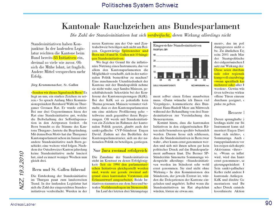 90 Politisches System Schweiz Andreas Ladner Standesinitiative NZZ, 19.3.2010