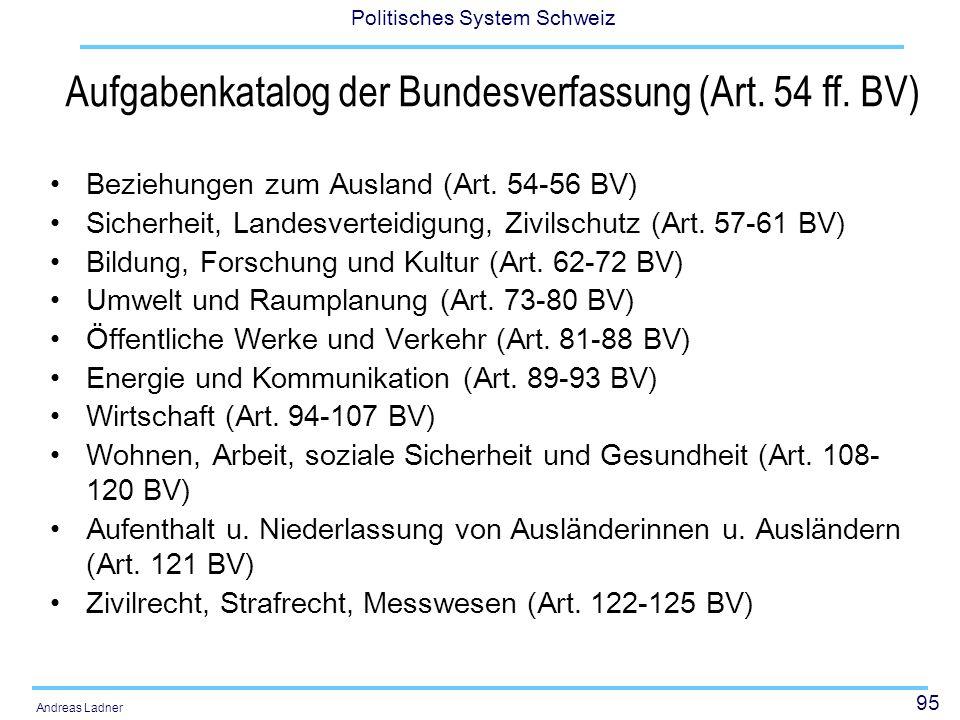 95 Politisches System Schweiz Andreas Ladner Aufgabenkatalog der Bundesverfassung (Art. 54 ff. BV) Beziehungen zum Ausland (Art. 54-56 BV) Sicherheit,