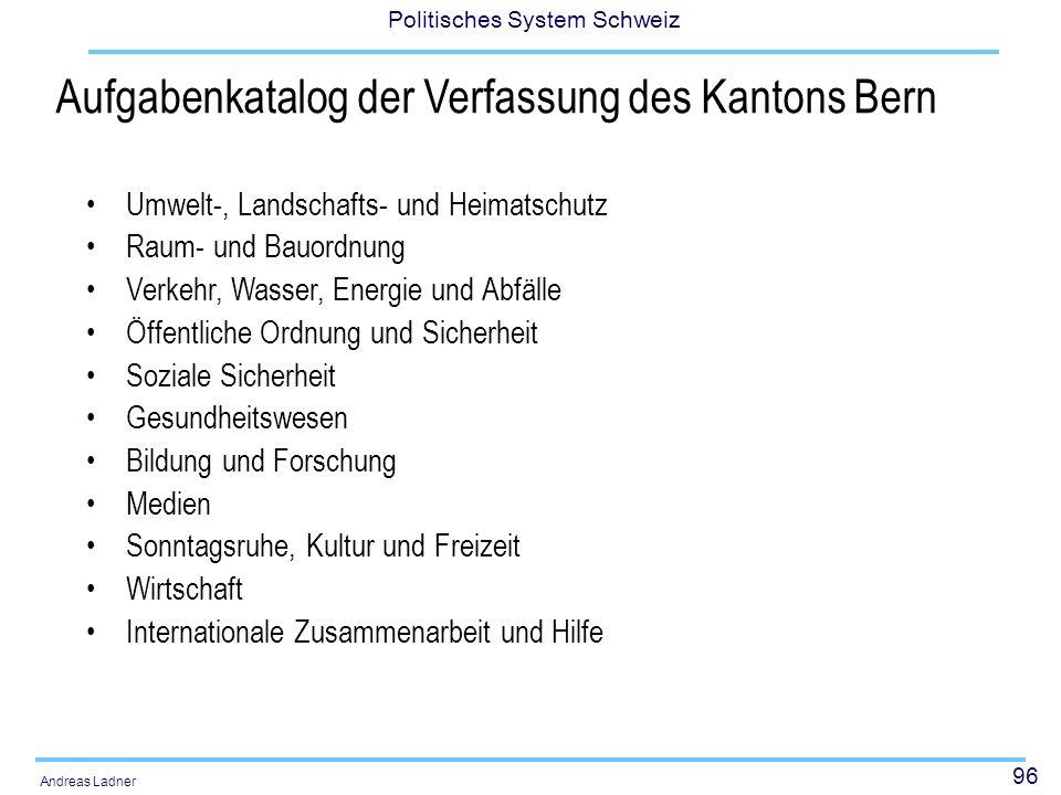 96 Politisches System Schweiz Andreas Ladner Aufgabenkatalog der Verfassung des Kantons Bern Umwelt-, Landschafts- und Heimatschutz Raum- und Bauordnu