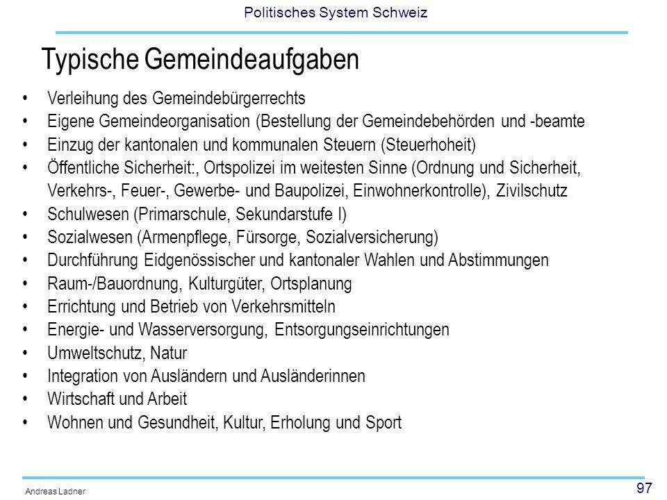 97 Politisches System Schweiz Andreas Ladner Typische Gemeindeaufgaben Verleihung des Gemeindebürgerrechts Eigene Gemeindeorganisation (Bestellung der