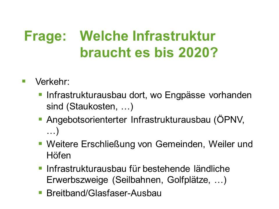 Frage: Welche Infrastruktur braucht es bis 2020.