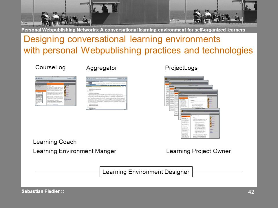Personal Webpublishing Networks: A conversational learning environment for self-organized learners Sebastian Fiedler :: 42 Designing conversational learning environments with personal Webpublishing practices and technologies CourseLog ProjectLogsAggregator Learning Environment Manger Learning Coach Learning Project Owner Learning Environment Designer