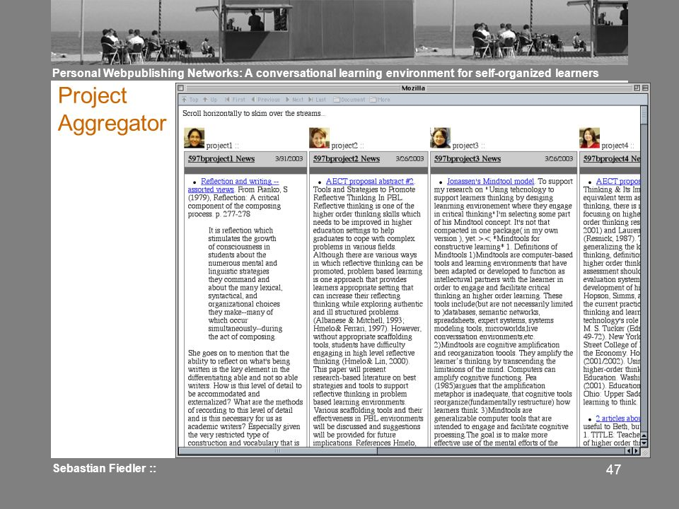 Personal Webpublishing Networks: A conversational learning environment for self-organized learners Sebastian Fiedler :: 47 Project Aggregator