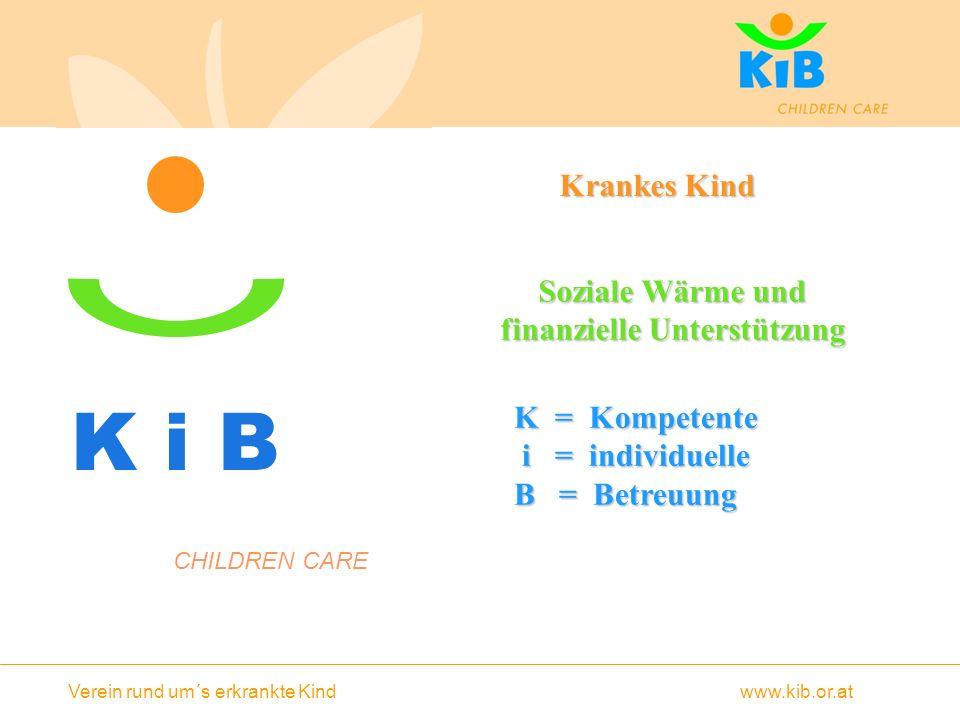 Verein rund um´s erkrankte Kind www.kib.or.at K i B Krankes Kind Krankes Kind Soziale Wärme und finanzielle Unterstützung CHILDREN CARE K = Kompetente i = individuelle i = individuelle B = Betreuung