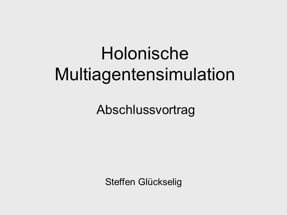 Holonische Multiagentensimulation Abschlussvortrag Steffen Glückselig
