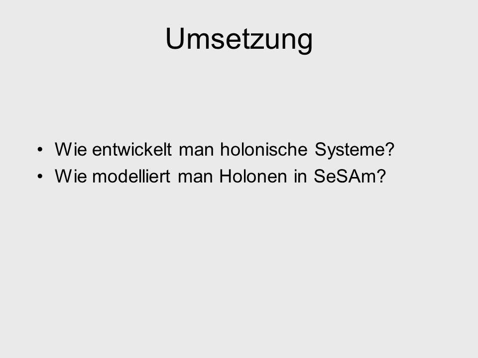 Umsetzung Wie entwickelt man holonische Systeme? Wie modelliert man Holonen in SeSAm?