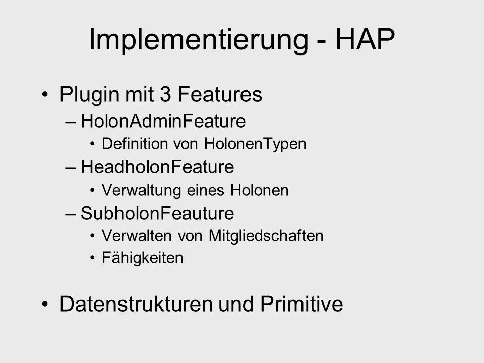 Implementierung - HAP Plugin mit 3 Features –HolonAdminFeature Definition von HolonenTypen –HeadholonFeature Verwaltung eines Holonen –SubholonFeauture Verwalten von Mitgliedschaften Fähigkeiten Datenstrukturen und Primitive