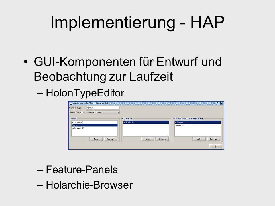 Implementierung - HAP GUI-Komponenten für Entwurf und Beobachtung zur Laufzeit –HolonTypeEditor –Feature-Panels –Holarchie-Browser