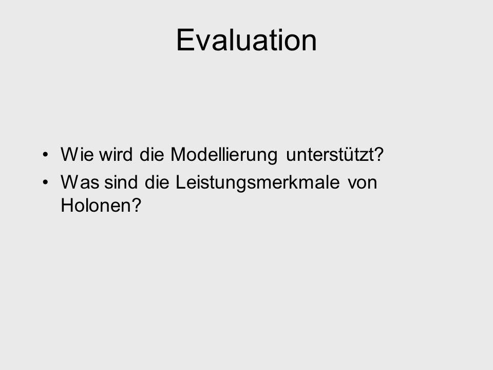 Evaluation Wie wird die Modellierung unterstützt? Was sind die Leistungsmerkmale von Holonen?