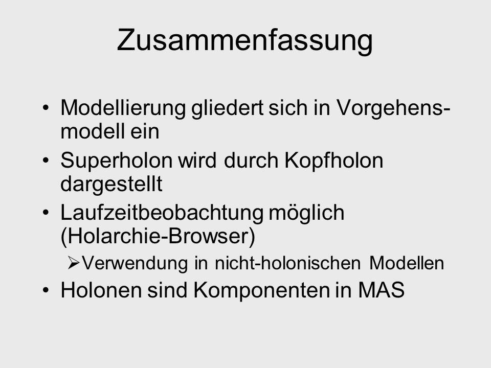 Zusammenfassung Modellierung gliedert sich in Vorgehens- modell ein Superholon wird durch Kopfholon dargestellt Laufzeitbeobachtung möglich (Holarchie-Browser) Verwendung in nicht-holonischen Modellen Holonen sind Komponenten in MAS