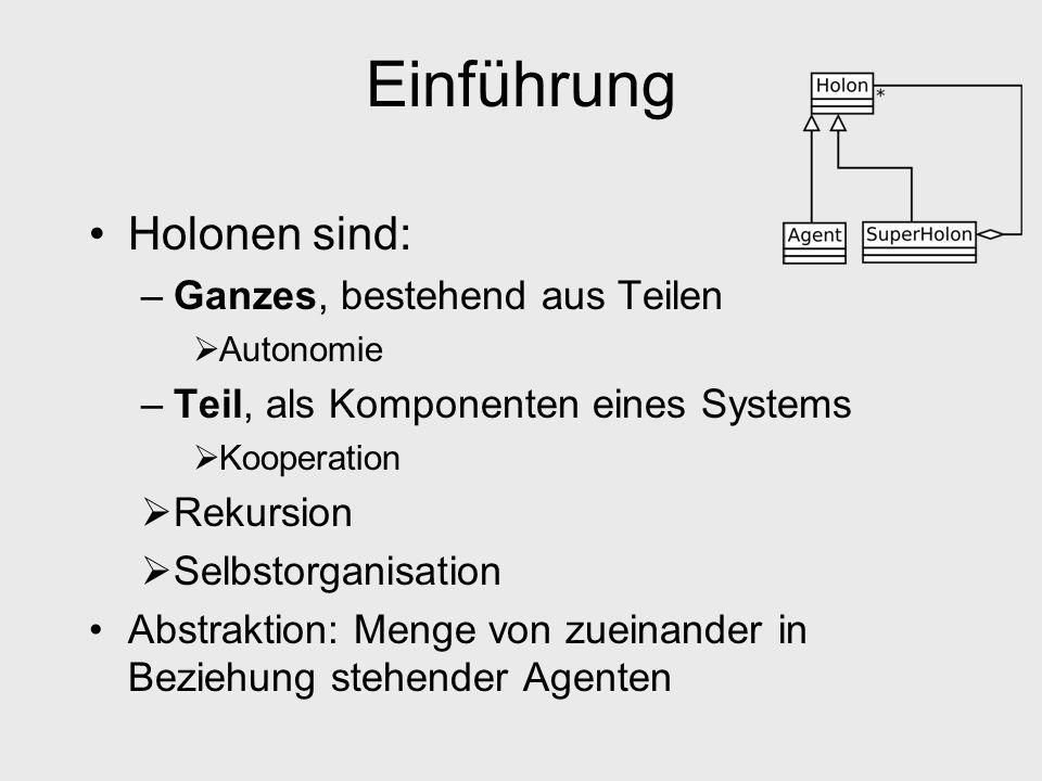 Einführung - Struktur Repräsentation des Holonen Neue Struktur oder Stellvertreter für Holon Kopfholon ist Schnittstelle nach außen und Moderator nach innen Einbindung in bestehende MAS leicht möglich.