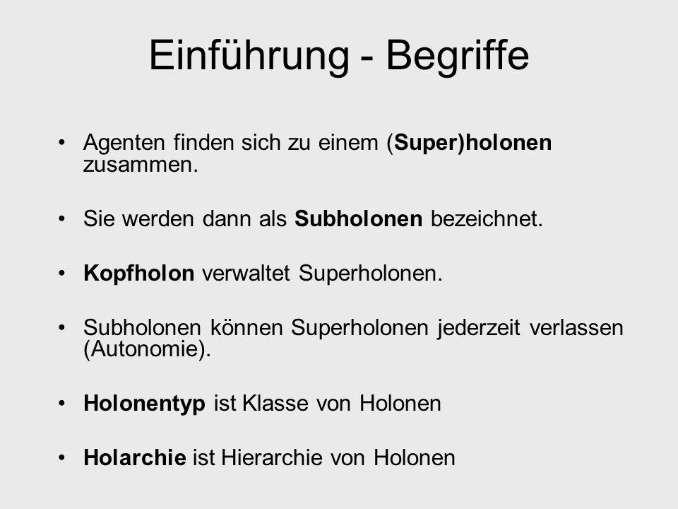 Einführung - Begriffe Agenten finden sich zu einem (Super)holonen zusammen. Sie werden dann als Subholonen bezeichnet. Kopfholon verwaltet Superholone